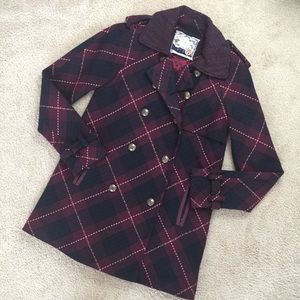 Free People Plaid Peacoat Double Breasted Size 4